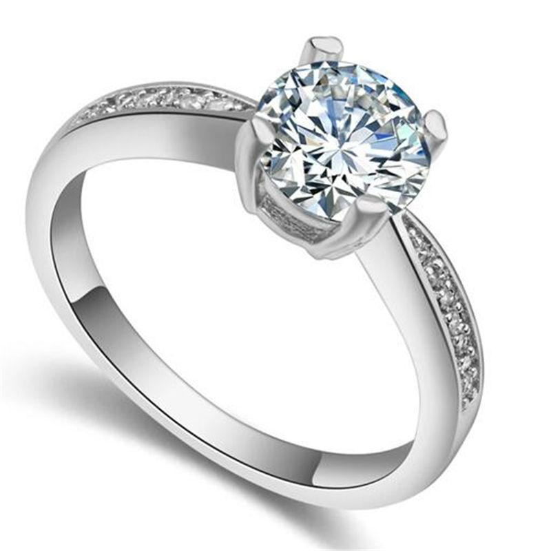 Top Quality Classic Wedding Ring CZ Diamond 18K White Gold Plated Engagement