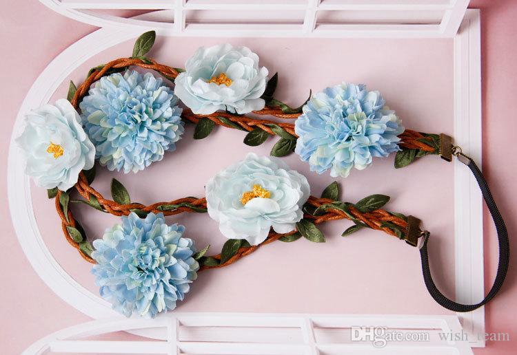 Vendas de la boda de las mujeres vendas de la flor azul claro Multi vid artificial corona del pelo venda de guirnalda verano pelo elástico casco 2016 más nuevo