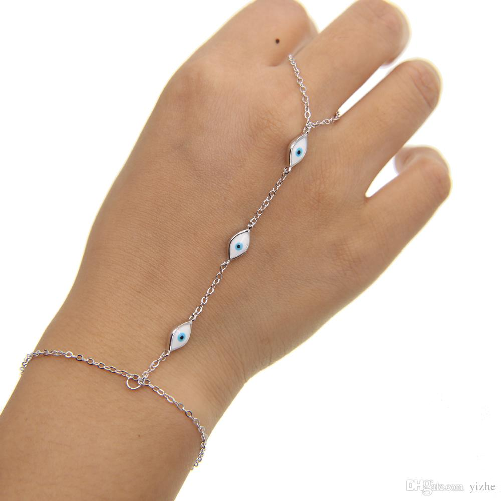 18k gold silver rose gold plated white enamel cute evil eye link chain fashion jewelry hand bracelet slave bracelet with ring