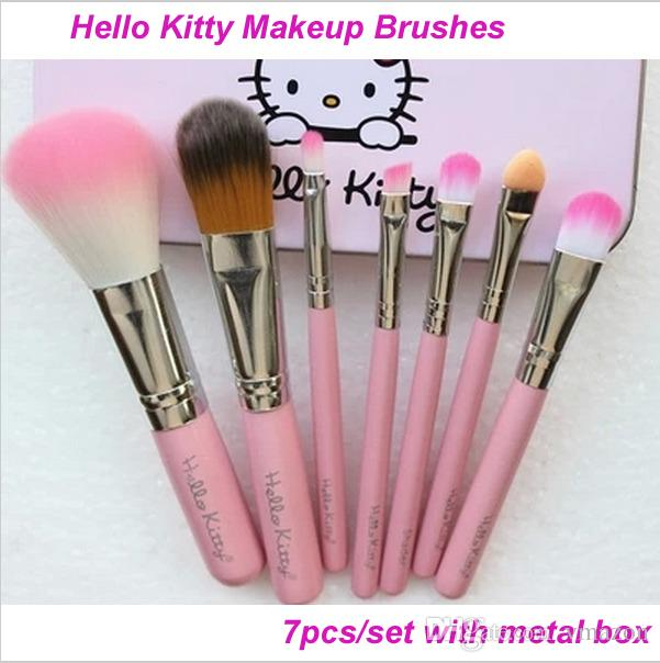 e28dbda0a38 Fashion New Hello Kitty Pink Makeup Brush Set Kit Maquiagem Oval Brushes  Kit With Metal Box Beauty Cosmetics Brushes Makeup Set Eyeshadow For Brown  Eyes ...