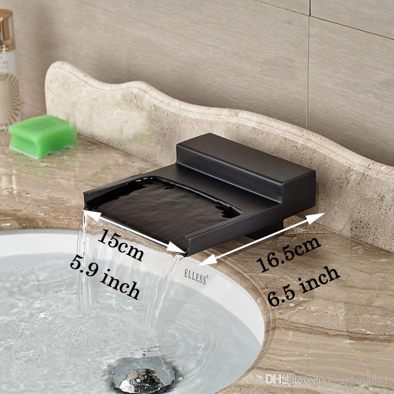 Oil Rubbed Bronze Deck Mounted Bathroom Lavatory Sink Faucet Waterfall Spout with Hot Cold Water Taps