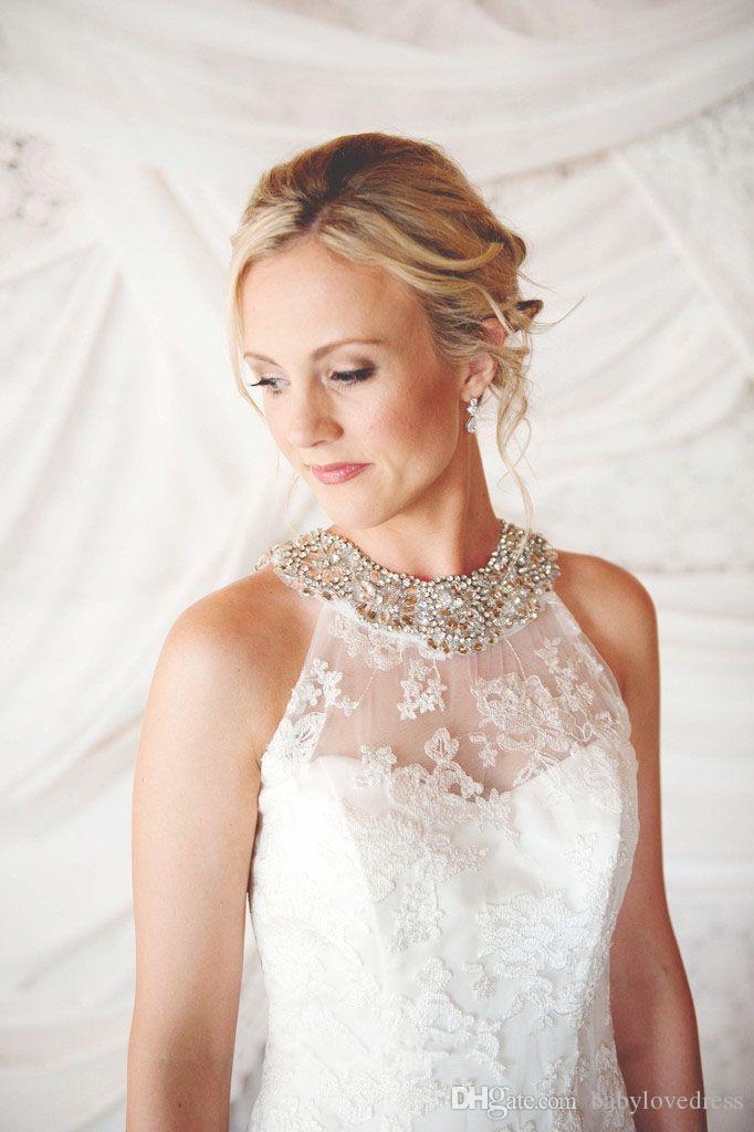 На заказ из бисера холтер шеи без рукавов кружева свадебные платья открытой спиной развертки поезд тюль русалка свадебные платья