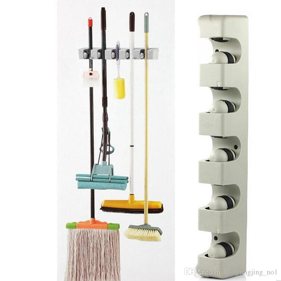 2018 Mop Broom Organizer With 5 Slots Mop Frame Broom Frame Kitchen  Organizer Wall Shelf Mounted Hanger Brush Broom Mops Organizer Tool Kka2378  From ...