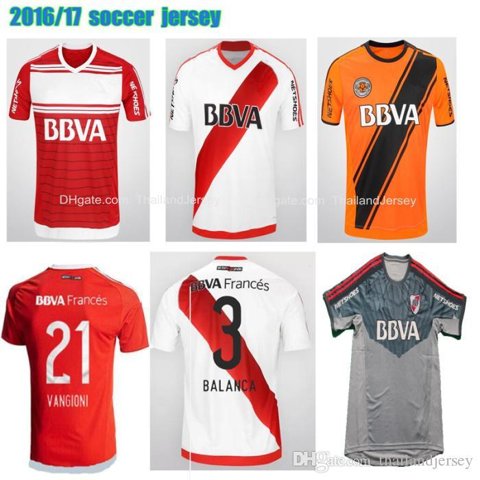 2019 2016 2017 River Plate Soccer Jersey Orange Grey Red White 16 17 River  Plate Maillot De Foot MARTINEZ VANGIONI R MORA Football Shirts From Yokand c1ac022f6