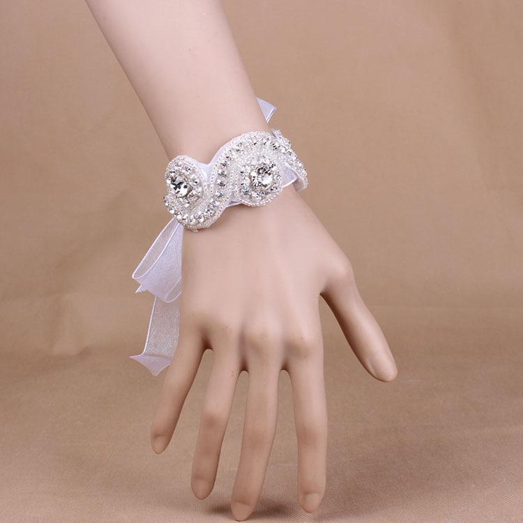 Luxus Perfekte Handgemachte Strass Braut Handgelenk Ornament Lange Seide Heißer Verkauf Hochzeit Bankett Zubehör Für Frauen