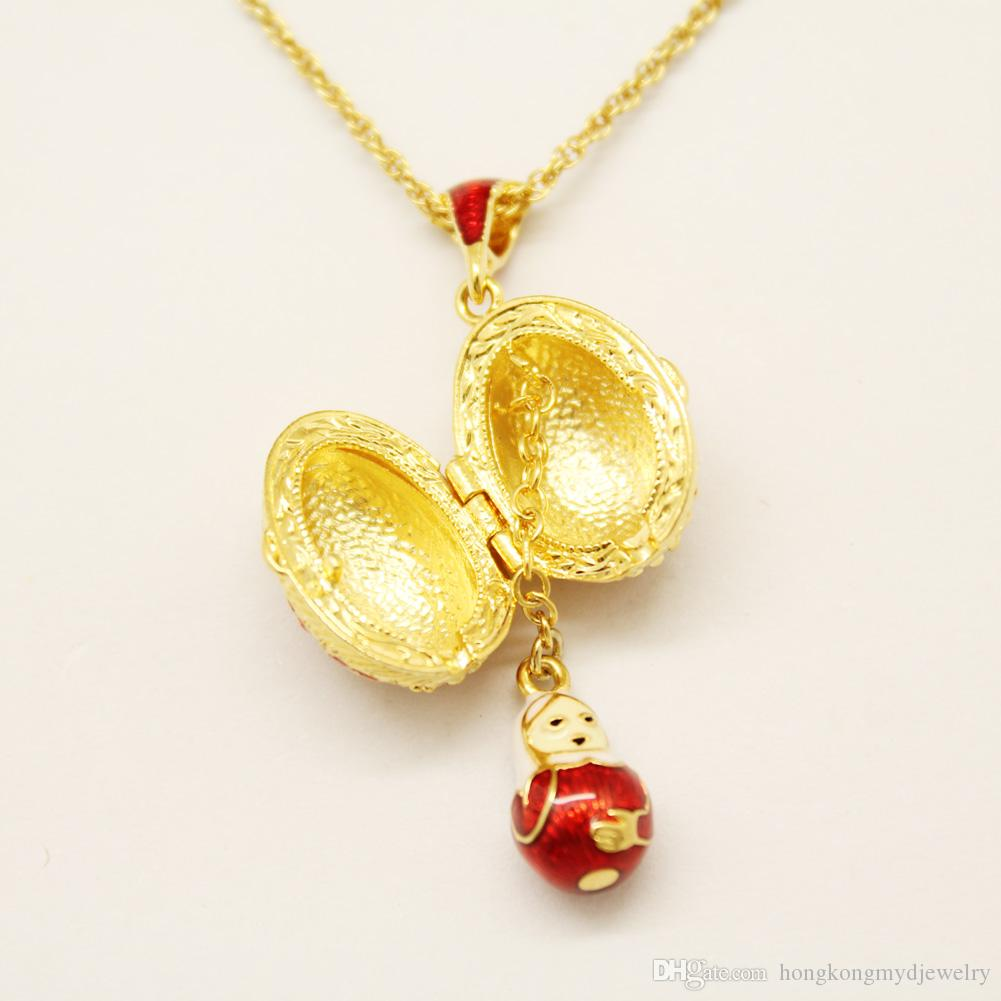 매달려 러시아 인형 목걸이 펜던트 목걸이 Faberge Egg 펜던트 부활절 날 에나멜 색상 러시아 스타일로 수공예