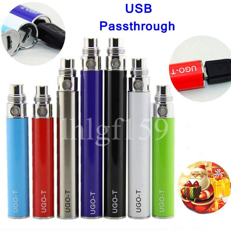New fashion Electronic cigarette ego uGo-v UGO-T 510 battery USB Pass through e-cigarette battery bottom charge 650/900/1100mah Vape Pens