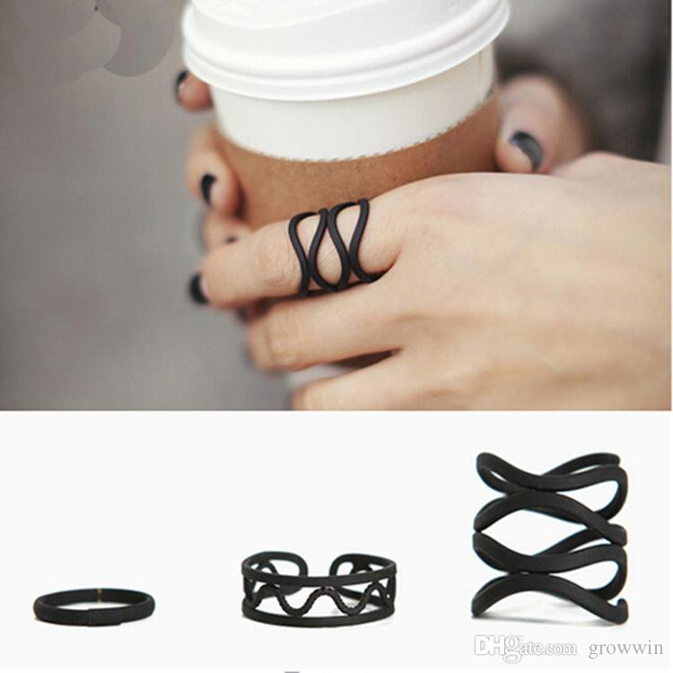 Sexy Style Tip Art Rings Of Electroplated Black Knit Style Luxury Set Hollow Out Hand Joints Rings For Women Girls Charms Rings D0157