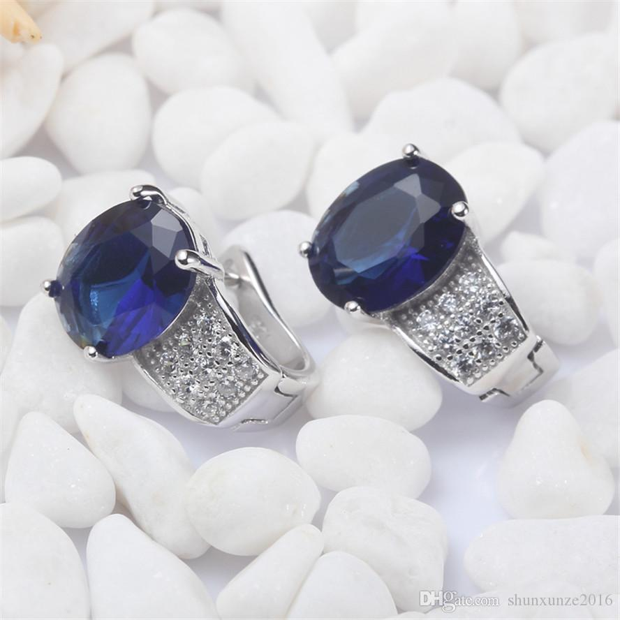925 sterling silver Favourite Earrings Promotion S-3705 Dark Blue Cubic Zirconia Best Sellers The new product Christmas gift Rave reviews