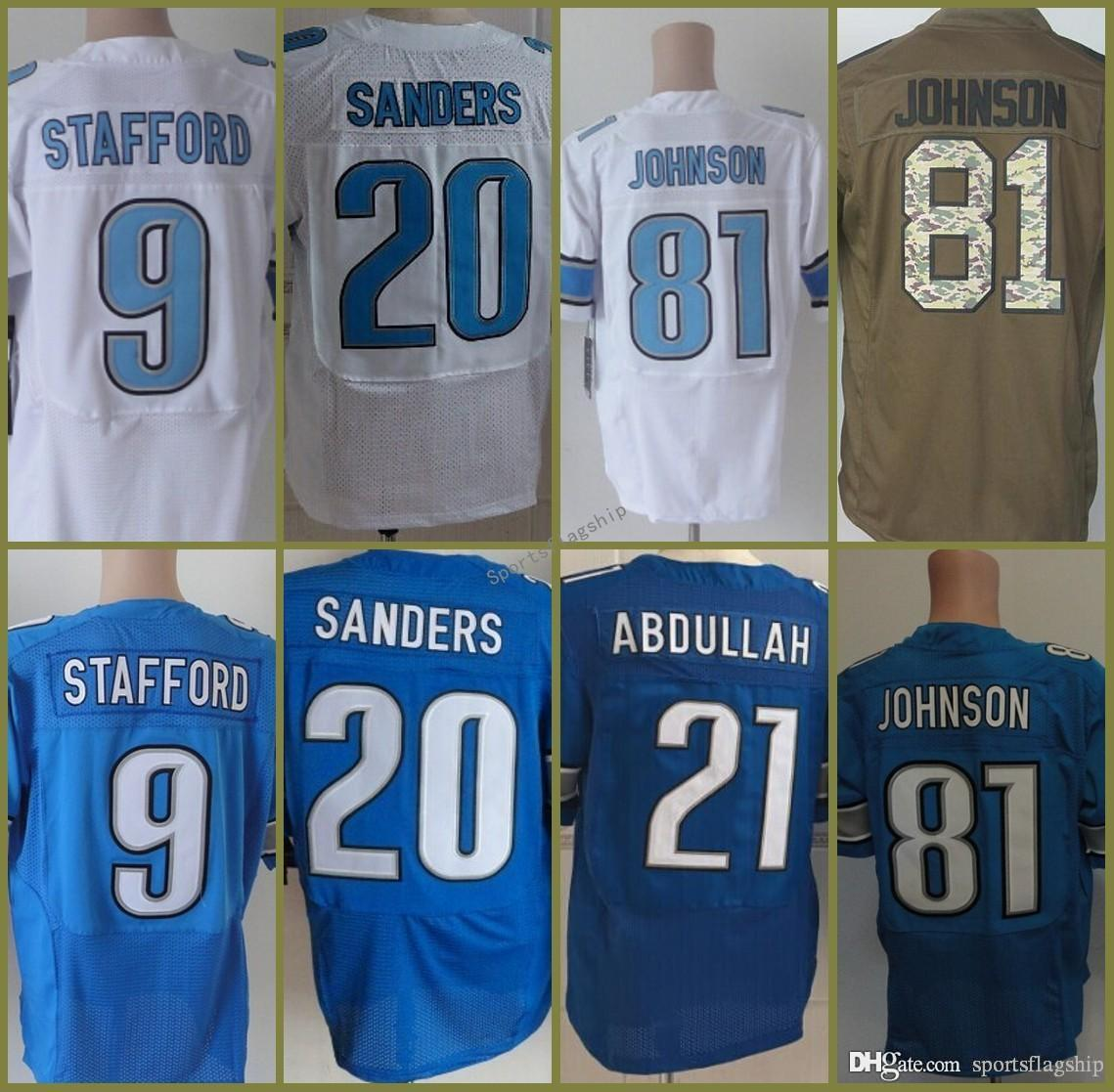 501830f0a ... 2017 Men 9 Matthew Stafford 21 Ameer Abdullah 20 Barry Sanders 81  Johnson Elite Blue White 2017 MenS ...