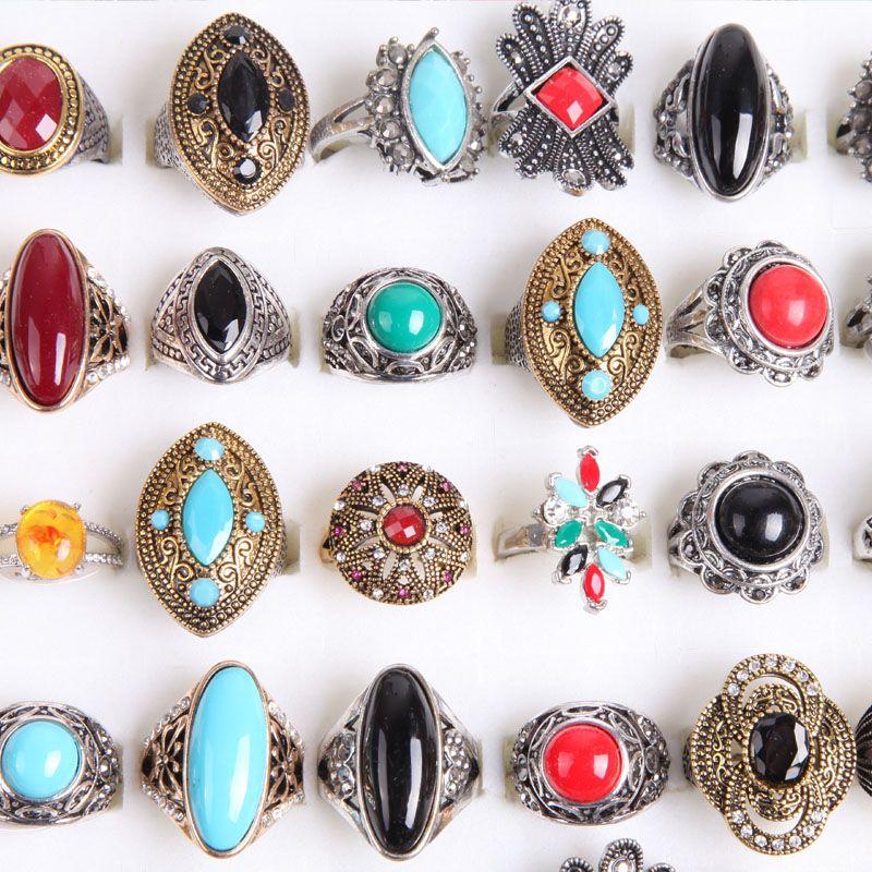 الجملة أزياء الكثير بالجملة مزيج أنماط سبيكة معدنية جوهرة الفيروز خواتم مجوهرات خصم الترويج