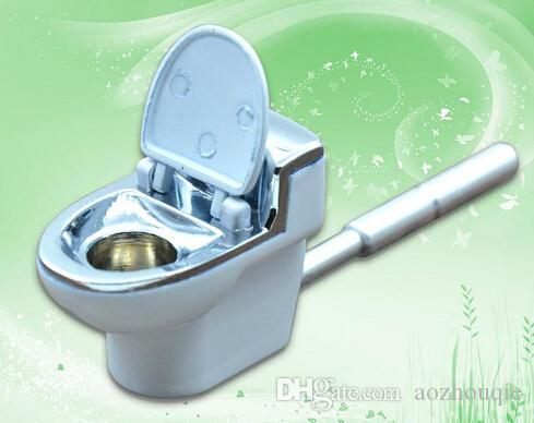 Wholesale-metal smoking pipe Toilet Pattern long portable pipes snuff snorter grinder rolling machine cleaners