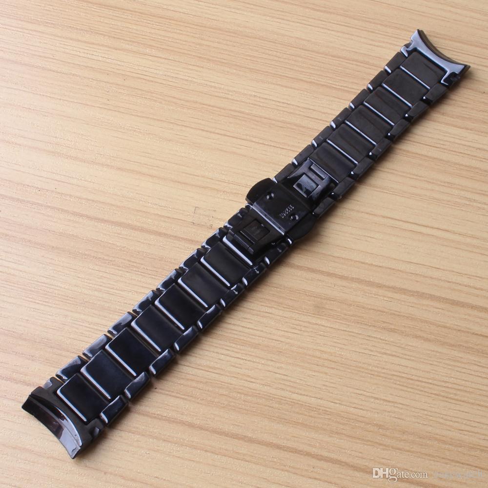 Yeni gelenler için İzle band kavisli sonu seramik bilezik erkekler 1451 1452 watchband 24mm siyah cilalı ve mat renk su geçirmez saat kayışı