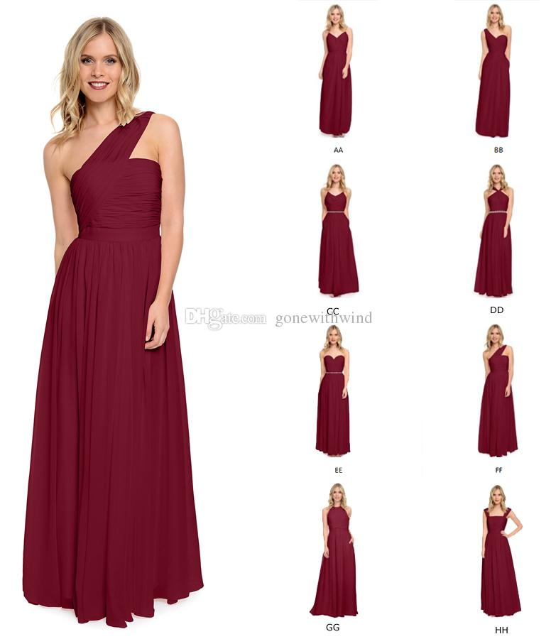 eae514bfa65 2016 Wine Blue Burgundy Bridesmaid Dresses Long Pleated Wedding ...