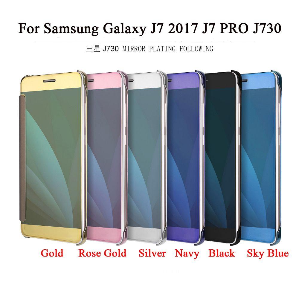 huge discount eaa9d 6eda5 For Samsung Galaxy J7 PRO Case J730 EU Eurasian Version Case Smart Mirror  Flip Leather Cover For Samsung Galaxy J7 2017 J730F Cover