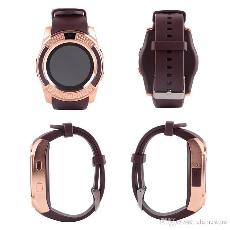 V8 Smart Watch Sport Bluetooth-Uhren mit 0.3M Kamera MTK6261D Smartwatch Voll Rundsieb für Android Micro Sim TF-Karte mit Kleinkasten