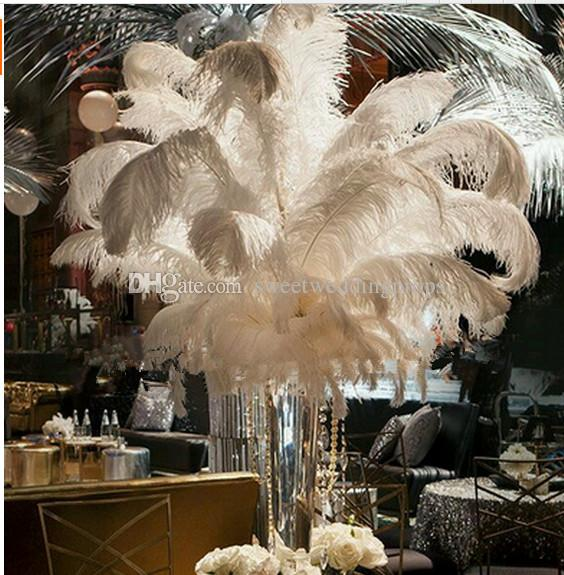 New New Large Flower And Feather Centerpiece With Crystal Bead For
