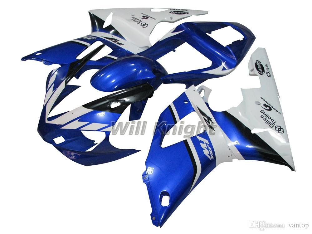 Kit complet de carénage de corps de moulage par injection de cadre de moto pour YZF1000 YZF R1 2000 2001 bleu blanc
