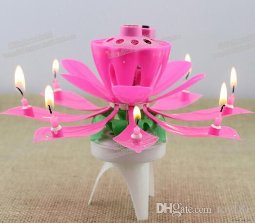 100 Music Candle Blossom Lotus Flower Candle Light Birthday Party Music cake candle Sparkle musical style with Retail packaging