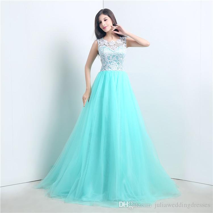 2021 Novo Stock Sexy Longo A-Linha Mint Renda Verde Vestidos de Noite Applques Tule Piso-Comprimento Vestidos de Festa de Prom