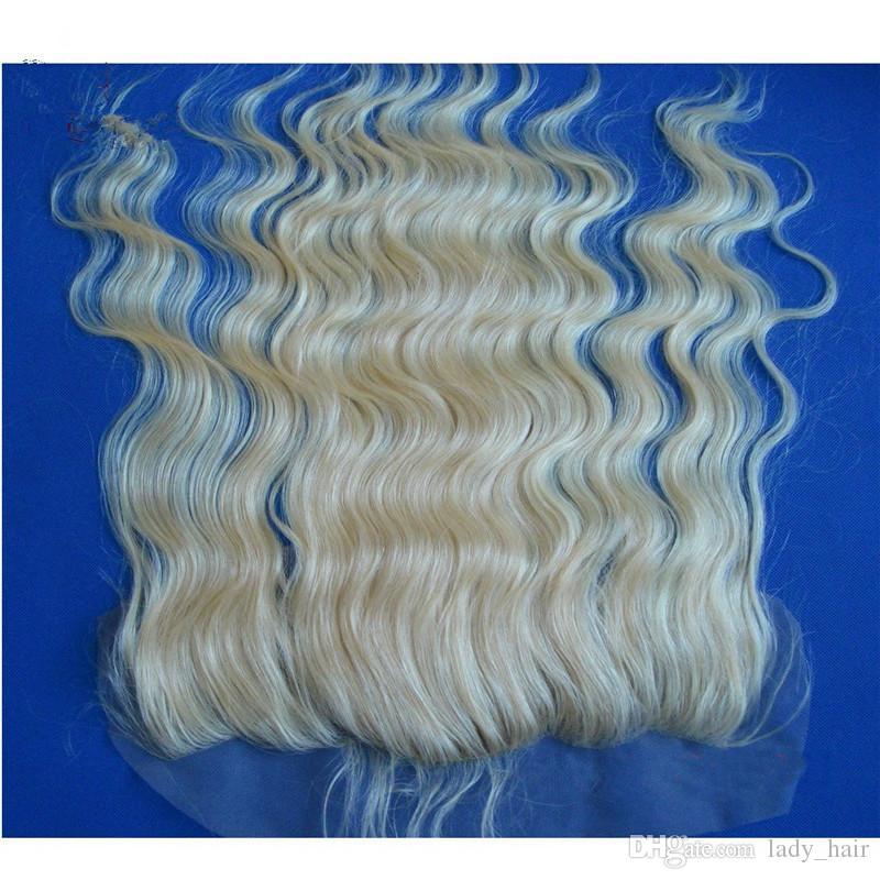 Virgin brasilianische blonde Seide Base Lace Frontal Schließung gebleichte Knoten # 613 Bleach blonde Körperwelle brasilianische Seide Top volle Spitze Frontal 13 x 4