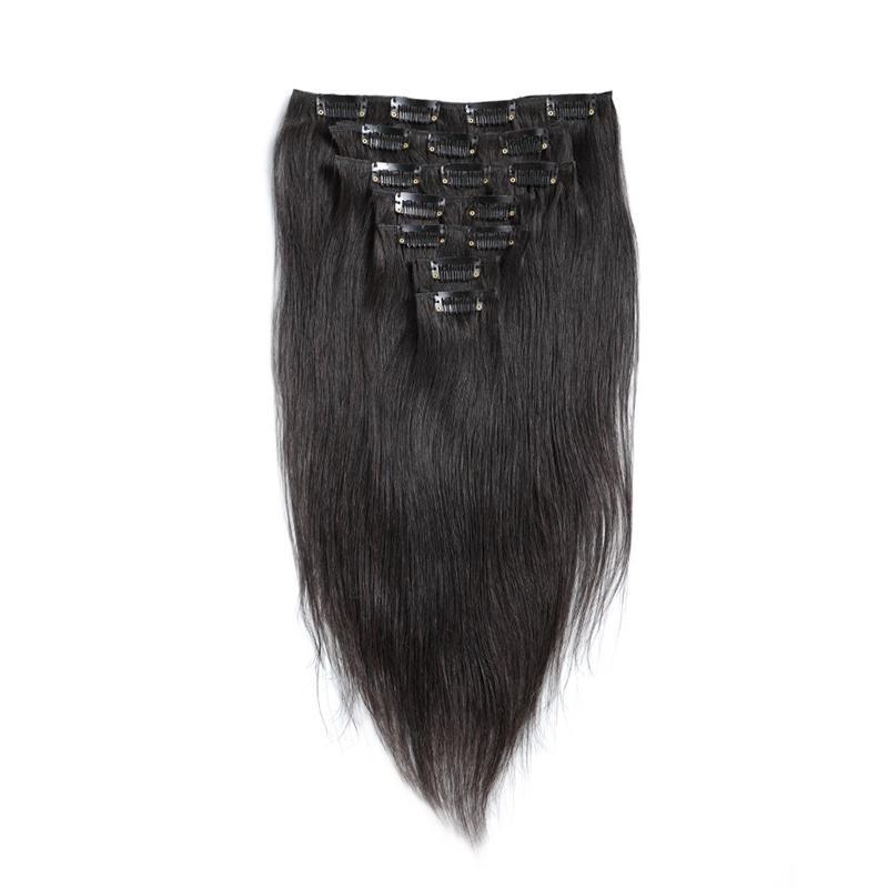 Brazilian Silk Straight Clip In Hair Extensions Virgin Human Clip On Human Hair Extensions Straight 100g set Natural Black