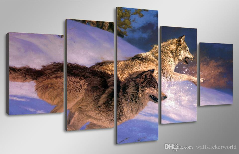 Framed Printed Two wolves running in the snow Painting Canvas Print room decor print poster picture canvas /ny-4977