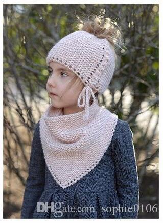 Girl Knitted Hat and Muffler Set Baby Warm Caps and Shawl Kids Fashion Autumn Winter Hat Christmas Gifts SHC 004