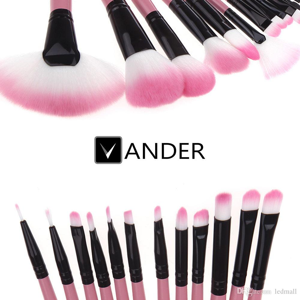 Vander PINK Wool Makeup Brush Superior Soft Professional Cosmetic Makeup Brush Set Kit + Pouch Bag USA Store