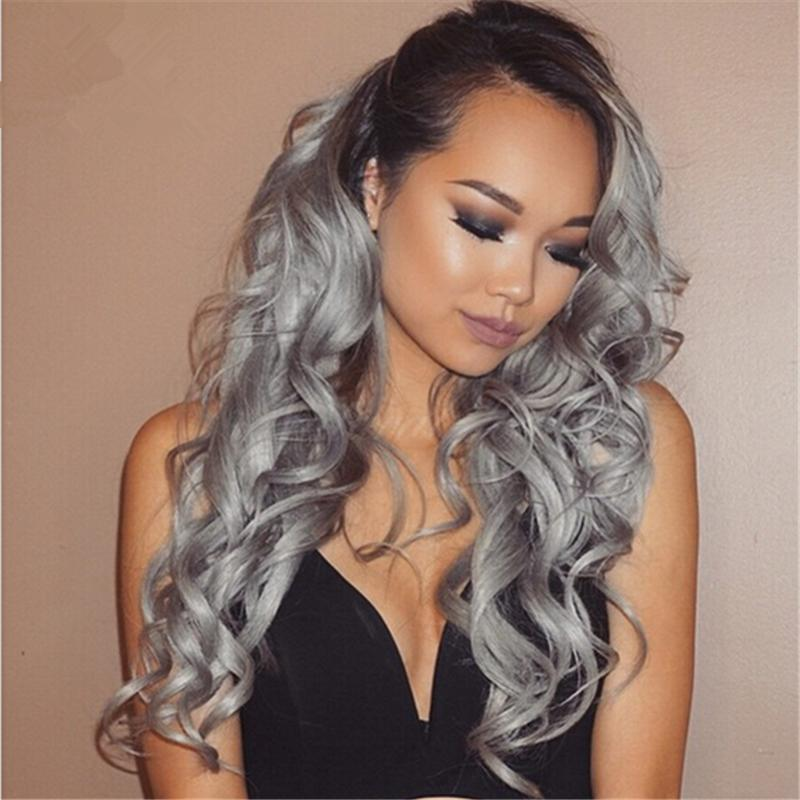 Brazilian 9A #1B/grey Ombre Hair Wig loose wave Full Lace Wig Glueless Sliver Grey Lace Front Wig Middle Part For Black Woman