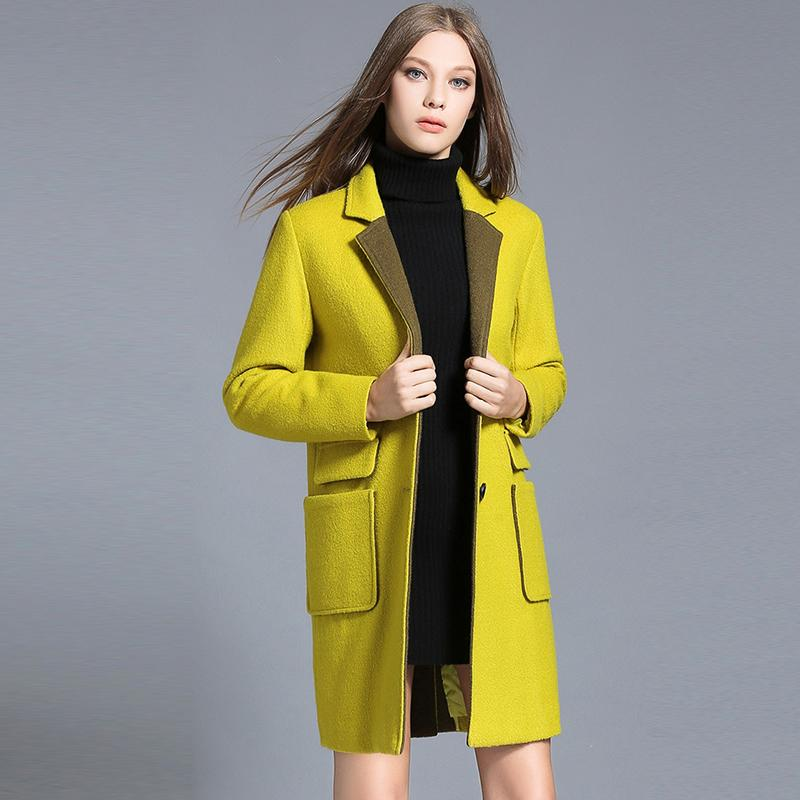 2017 Autumn Winter Women Wool Plus Size Long Woolen Coat Lady Elegant Jacket Camel Green Pockets Outwear Woman Clothing L-4XL