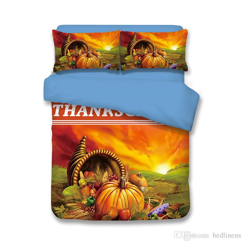 New Happy Thankgiving Day Food Bedding Set Duvet Cover Single Twin Full Queen king Size Pumpkin Bed Cover Bedspread Sunset Festival Coverlet