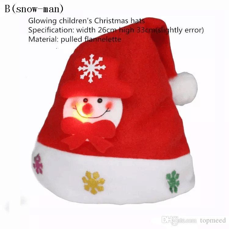 2017 neue 3 Arten Art starker ultra weicher Plüsch-glühende Weihnachtshüte 24 * 33cm der Kinder nette Weihnachtskappe Weihnachten