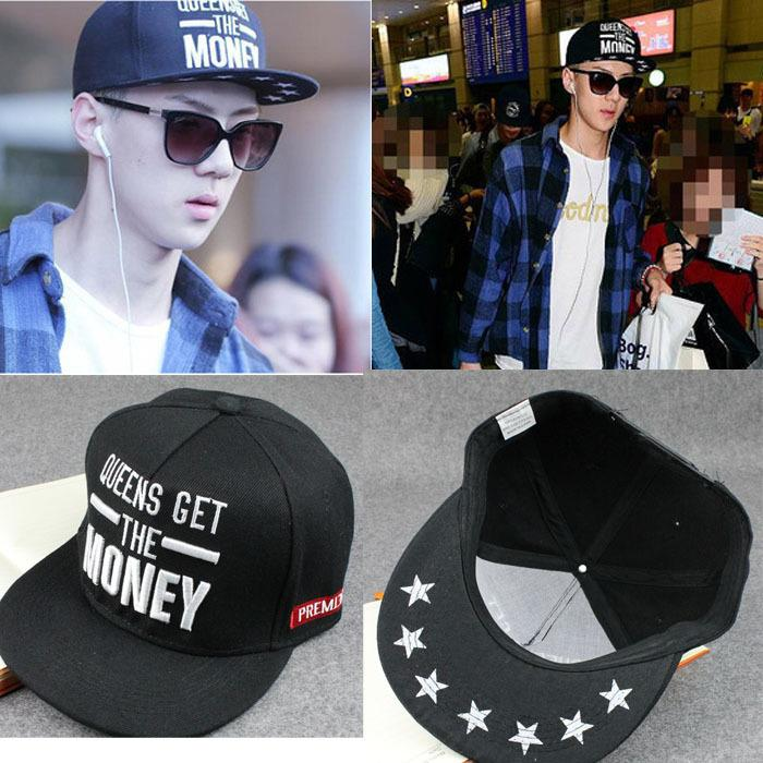 EXO-MONEY Embroidery Flat Brimmed Hat Hip-hop Hat Baseball Cap Men ... 321d7e062144