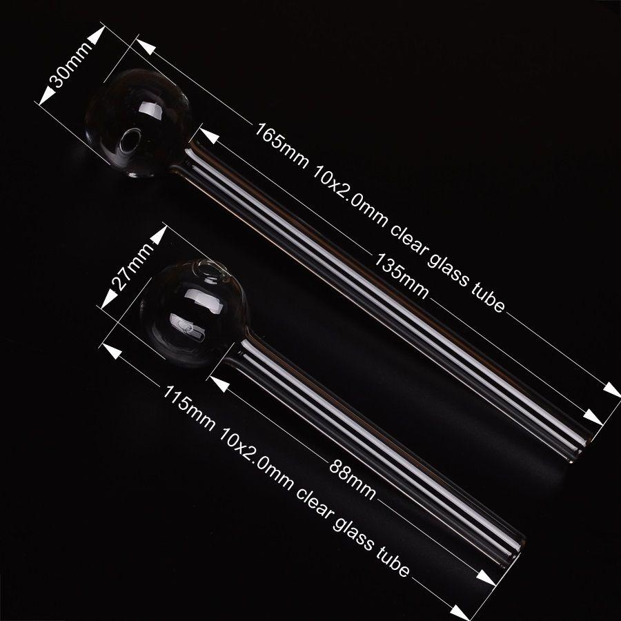 6.5in 유리 오일 버너 흡연 파이프 20x2mm 두께의 클리어 튜브 / BOX 도매 BestGlass G44-6.5