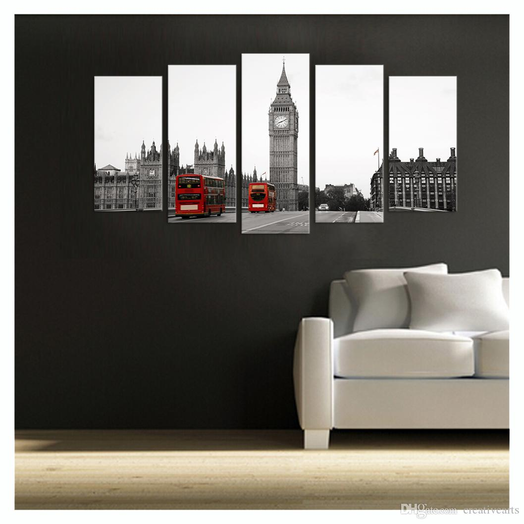 5 Pezzi HD Stampato The Big Ben London Landscape Canvas Pittura In Bianco e Nero Immagine della parete Soggiorno No Frame / VA170814-6