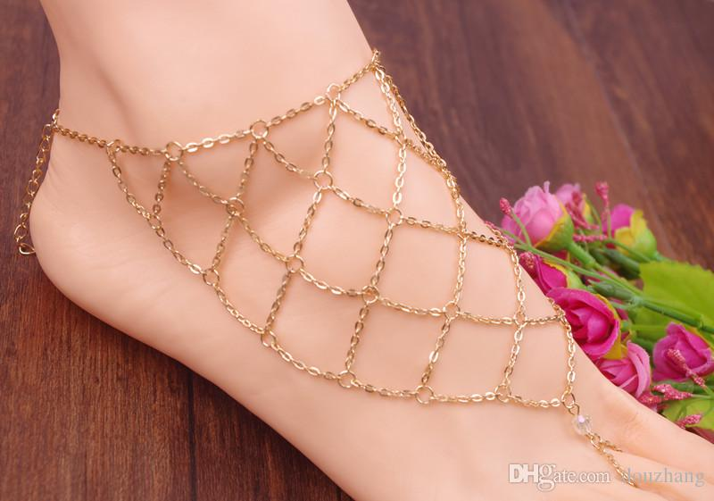 패션 여름 섹시 맨발 샌들 슬레이브 메쉬 네트 발목 멀티 레이어 체인 발 발목 발목 쥬얼리 를