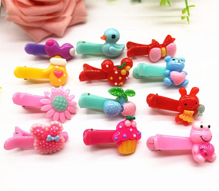 2017 candy color plastic kids hair clip animal baby hairpins