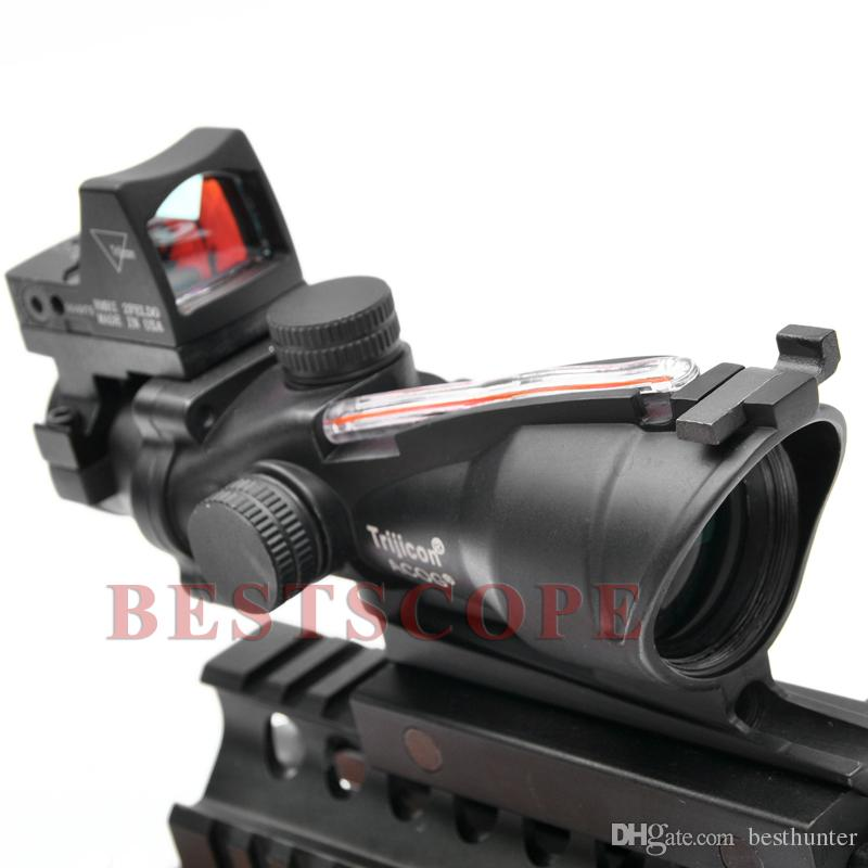 Trijicon ACOG 4X32 Sight Scope Real Red Fiber Source Red Illuminated Rifle Scope w/ RMR Micro Red Dot Sight