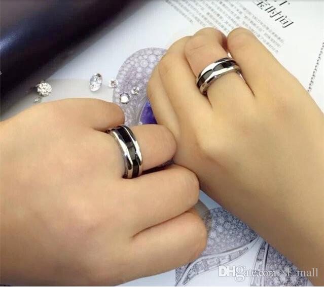 Fashion Charitable Style Black Ceramic Rings, Platinum Plated Titanium Stainless steel with Red mark Women /Men Jewelry--- Size 5 to 11