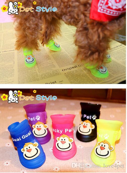 E54 4 pçs / lote cão botas de chuva pet shoes pet botas anti derrapante skid botas de chuva à prova d 'água frete grátis