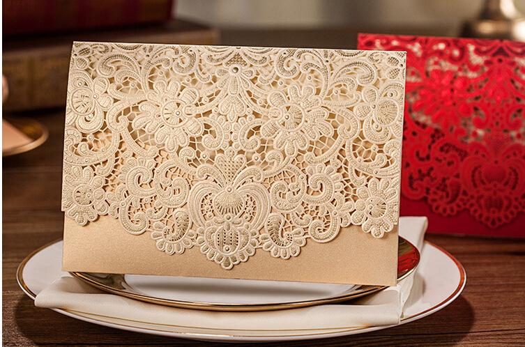 Red Gold Ivory Lace Laser Cut Wedding Invitations Cards High – Gold and Purple Wedding Invitations