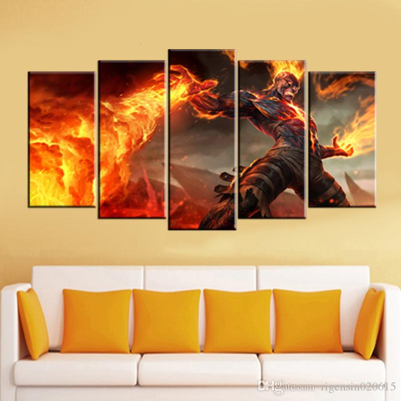 2018 Wall Art Picture League Of Legends Fired Man Oil Painting Spray ...