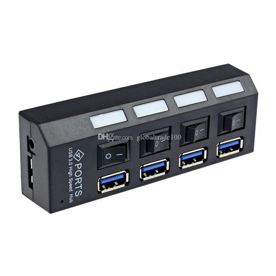 Mini USB 3.0 Hub 4 puertos 5Gbps de alta velocidad con interruptor de encendido / apagado USB 3.0 Hub Splitter Adapter para PC portátil