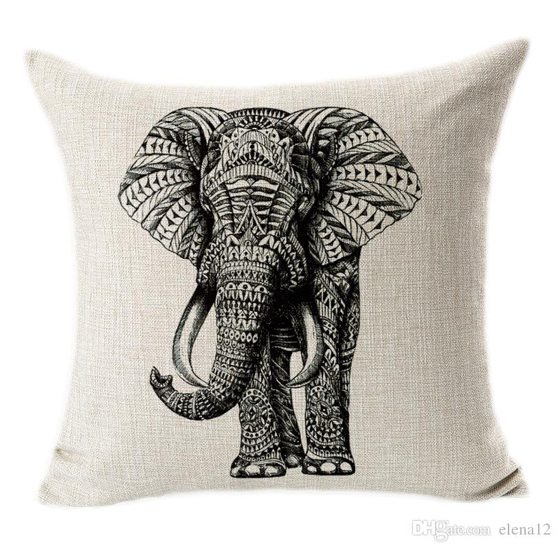 Black And White Animal Art Cotton Pillow Case Cover Square Linen