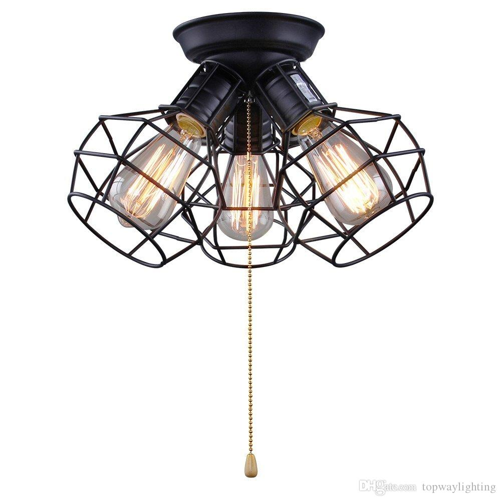 2018 Wire Cage Ceiling Lights, 3 Lights Ceiling Lamp For Garage ...