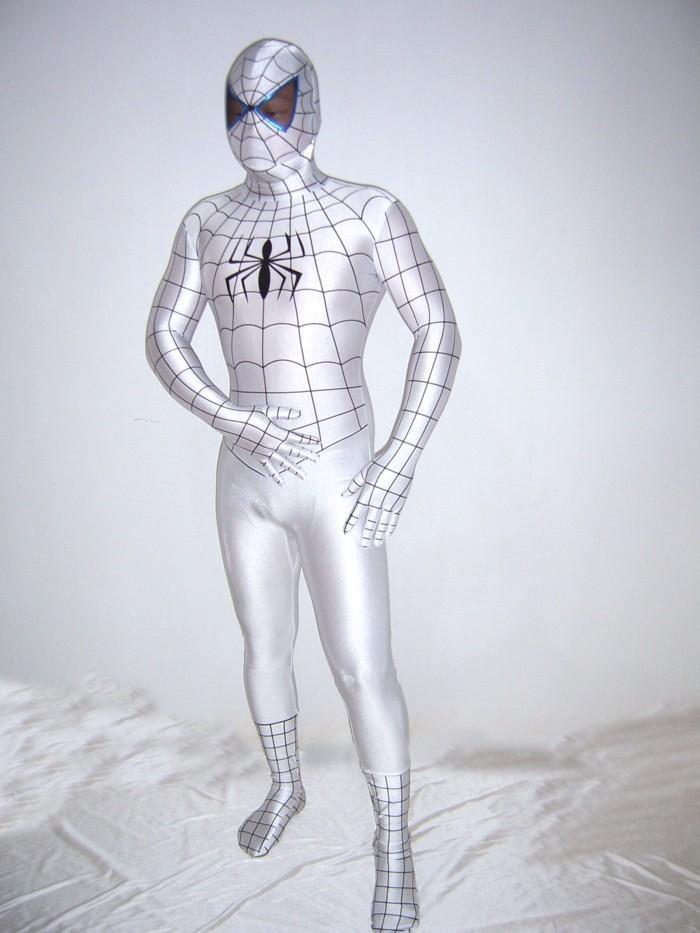 2016 Yeni Moda Cadılar Bayramı Kostüm Örümcek Adam Tam Vücut Suit Beyaz Lycra Spandex Superhero Spiderman Zentai Suits