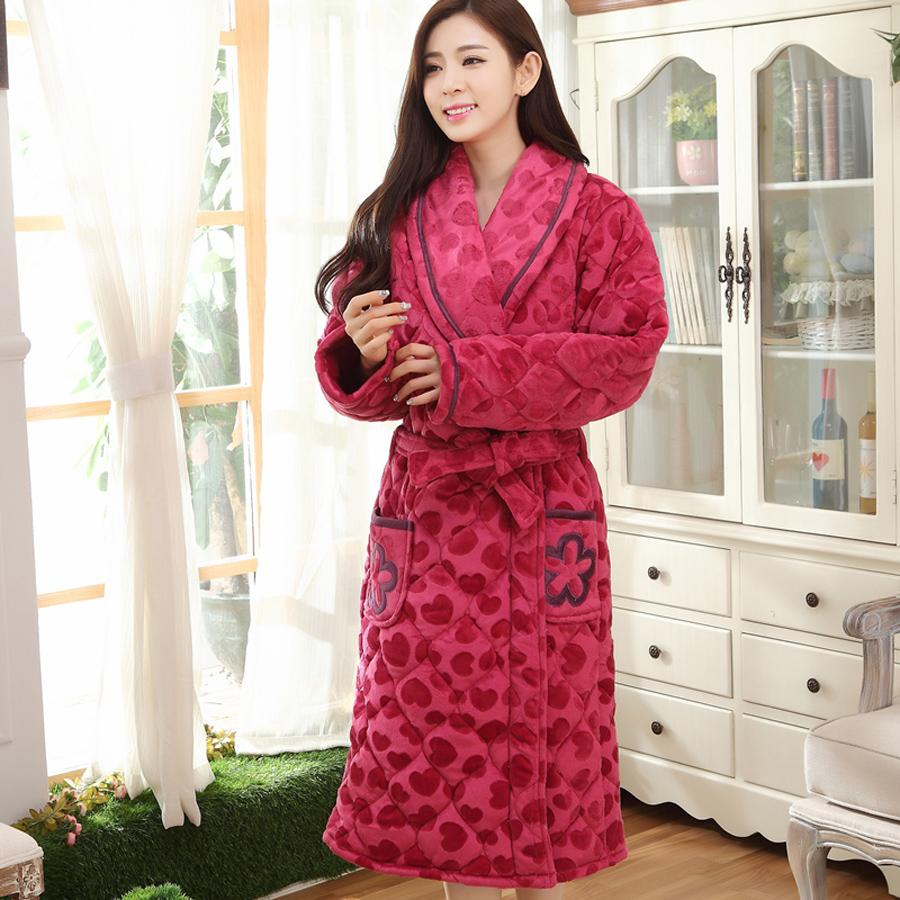 08533753a5 Wholesale-Ms. Thick Winter Folder Cotton Flannel Nightgown Heart ...
