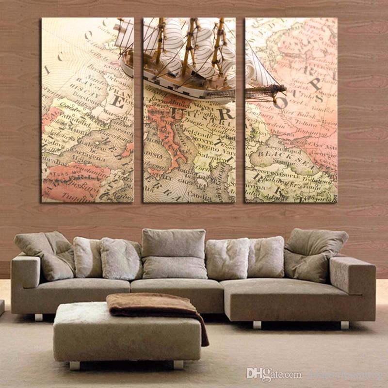 Modern Art map and ship three panels pictures for home decoration HD canvas painting no frame