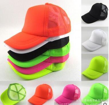NEON Fluorescent сетка обычной пустого Trucker бейсбол шляпа крышка 6 цвета пятна цвета флуоресцентного цвета бейсболка шапка взрослый мужчина г-ж ВС шляпу
